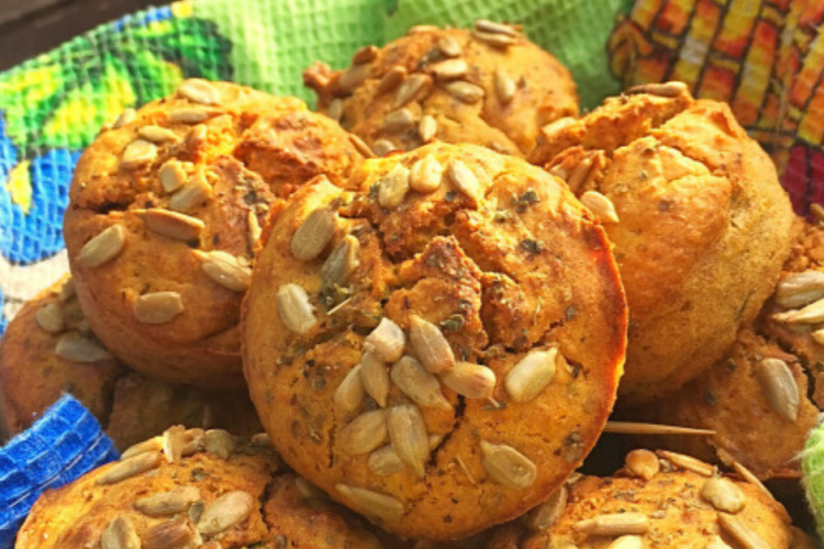 Pumpkin, miso, and wild garlic muffins The Food Zen